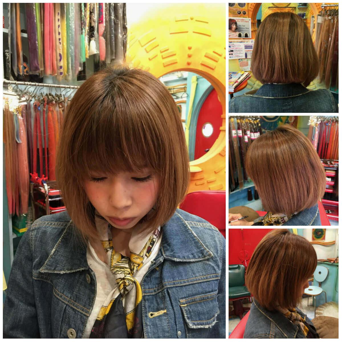 日本一馴染むエクステ専門店セクション Before & After 重めぱっつんボブにエクステ Before