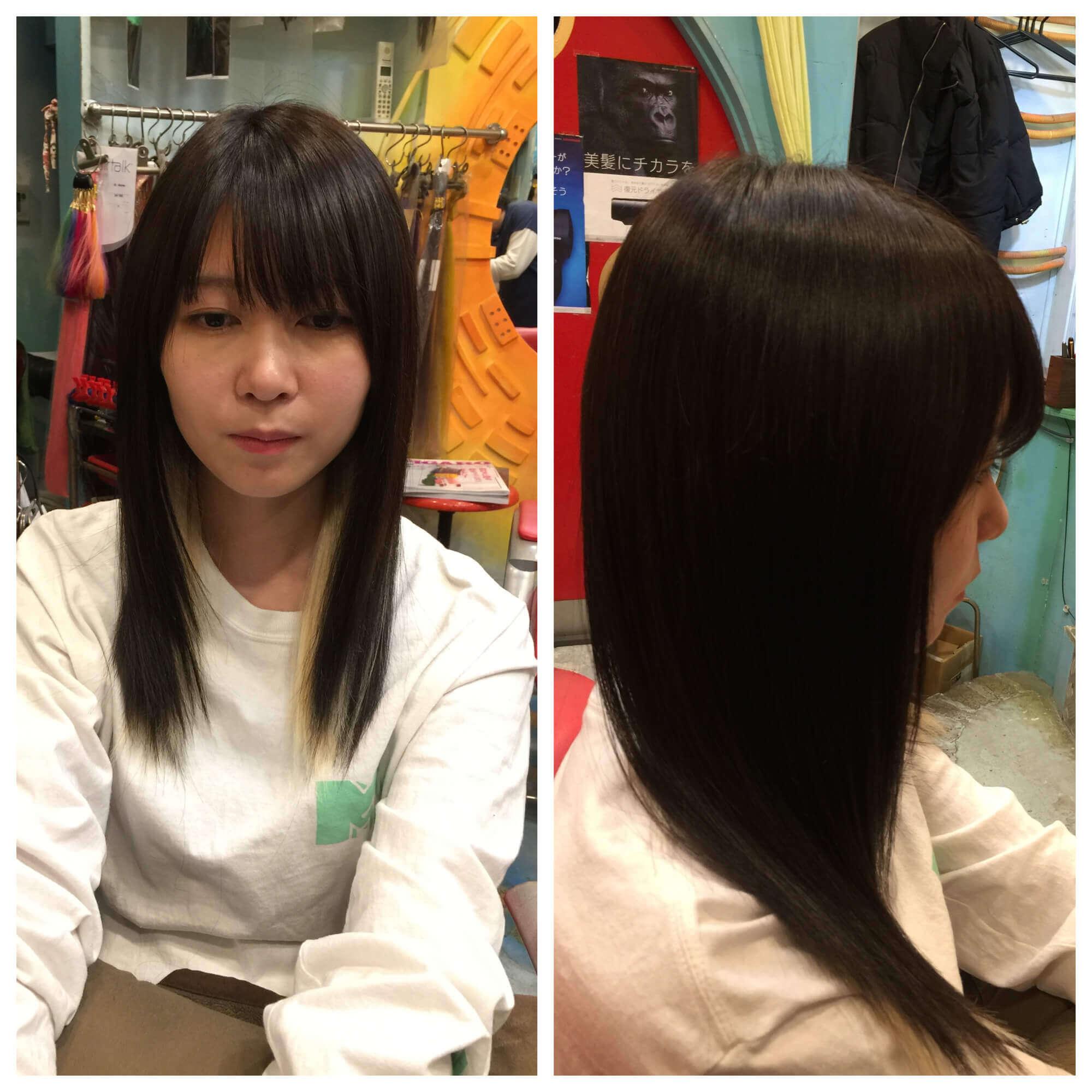 日本一馴染むエクステ専門店セクション Before & After ボブからインナーカラーでロング After